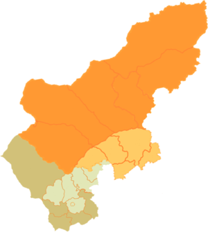Chakhar Mongolian - Subdivisions of Xilingol (orange) and Ulanqab (green) in which Chakhar is spoken (lighter shade).