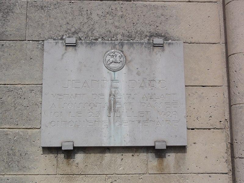 Chapelle de l'ancien prieuré de Saint-Ouen à Condé-sur-Aisne, plaquette Jeanne-d'Arc