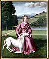 Chastity (a virgin and a unicorn). Oil painting by a followe Wellcome L0000174.jpg