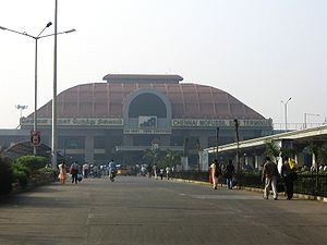 Bus terminus - The Chennai Mofussil Bus Terminus in India.