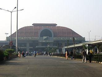 Bus terminus - The Chennai Mofussil Bus Terminus in India.