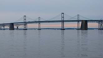 Chesapeake Bay Bridge - Both spans of the Chesapeake Bay Bridge (Gov. William Preston Lane Memorial Bridge) as seen from Sandy Point State Park