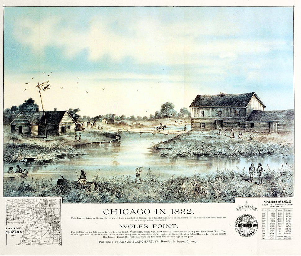 Chicago in 1832 by Blanchard