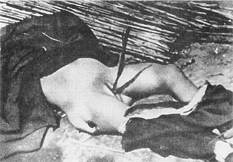 Nanjing Massacre - Photo taken in Xuzhou, showing the body of a woman who was profaned in a way similar to the teenager described in case 5 of John Magee's film