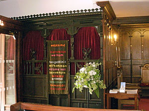 St Chad's Church, Poulton-le-Fylde - The choir vestry, constructed from carved pieces of family box pews