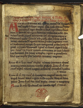 Chronicles of Mann - The first page of the Chronicles of Mann; from BL Cotton MS Julius A. VII, f. 31r