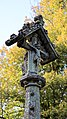 Church of St Andrew, Nuthurst, West Sussex - churchyard gabled cross column monument detail 02.jpg