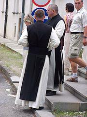 Cistersian priests in Szczyrzyc monastery