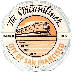 City of San Francisco (train) - City of San Francisco baggage label 1936