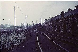Lambton Railway - Ex-Lambton Collieries 0-6-2T passes the former Lambton Engine Works at Philadelphia, Tyne and Wear, 1970