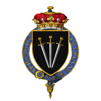 William Paulet, 1st Marquess of Winchester - Arms of William Paulet, 1st Marquess of Winchester, KG: Sable, three swords pilewise points in base proper pomels and hilts or