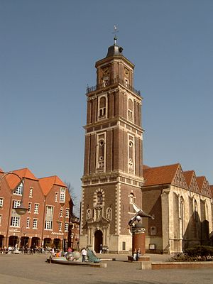 Coesfeld - The Catholic St. Lambert Kirche, the destination of the yearly Grand Cross procession, with its 17th-century baroque tower.
