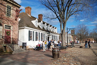 Colonial Williamsburg - View of the reconstructed Raleigh Tavern  on Duke of Gloucester Street