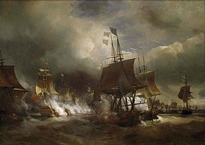 HMS Victory - The first battle of Ushant (1778) by Theodore Gudin. Admiral Keppel was later court martialed for allowing the French fleet to escape but was acquitted.