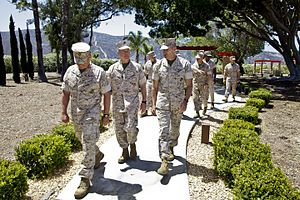 5th Marine Regiment (United States) - The 35th commandant of the Marine Corps, General James F. Amos, visits the 5th Marine Regiment Memorial during a tour of Marine Corps Air Station Camp Pendleton, CA, on May 19, 2014.