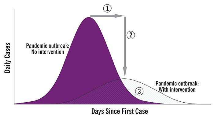集団免疫の図解 (1) 流行のピークを遅延させる (2) ピーク時の医療への負荷を下げるために曲線を平坦化する (3) 感染者数と健康への影響を減らす[149]。