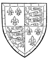 Fig. 724.—John de Beaufort, Earl and Marquis of Somerset, son of John of Gaunt. Arms subsequent to his legitimation: France and England quarterly, within a bordure gobony azure and argent. Prior to his legitimation he bore: Per pale argent and azure (the livery colours of Lancaster), a bend of England (i.e. a bend gules charged with three lions passant guardant or) with a label of France.