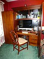 Computer armoire desk with shield back chair.jpg