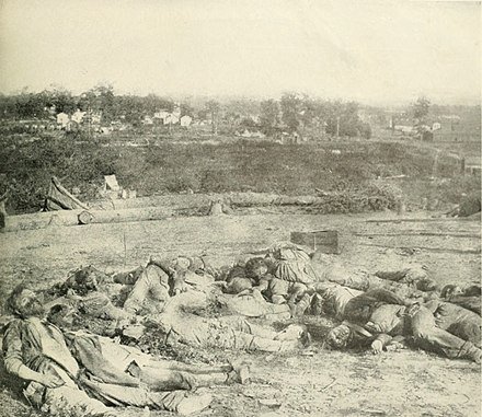 Confederate dead after the Battle of Corinth. Photo taken October 5, 1862 ConfederateDeadBatteryRobinettCorinth1862.jpg
