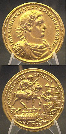Medal of Constantius Chlorus capturing Londinium (296) Constantius I capturing London after defeating Allectus Beaurains hoard.jpg