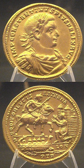 Allectus - Medal of Constantius I capturing London (inscribed as LON) after defeating Allectus. Beaurains hoard.