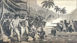 "The death of Captain James Cook at Kealakekua Bay, Hawaii. In: ""A Collection of Voyages round the World ... Captain Cook's First, Second, Third and Last Voyages ...."" Volume VI, London, 1790. Archival Photograph by Mr. Sean Linehan, NOS, NGS"