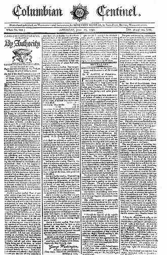 Copyright Act of 1790 - The Copyright Act of 1790 in the Columbian Centinel