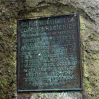 Battle of Corrichie - Monument marking the site of the Battle of Corrichie near the Black Moss and Red Moss