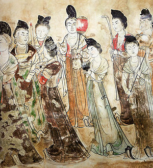 Women's clothing in China - Tang court ladies from the tomb of Princess Yongtai in the Qianling Mausoleum, near Xi'an in Shaanxi, China. 706 AD.