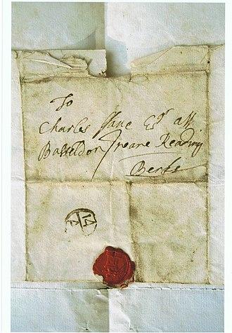 Basildon Park - Cover of a letter: To Charles ffane, Esq., att Basseldon, neare Reading, Berks, April 1714.