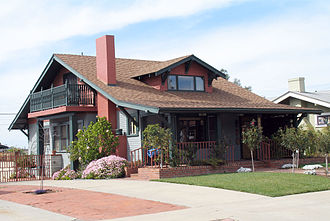 American Craftsman - American Craftsman-style bungalow in San Diego, California.  Similar homes are common in older neighborhoods of many western American cities.