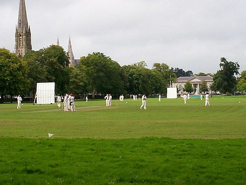 Armagh's Mall is home to the Armagh Cricket Club, and has also staged international matches. Cricket on the Mall, Armagh - geograph.org.uk - 589172.jpg