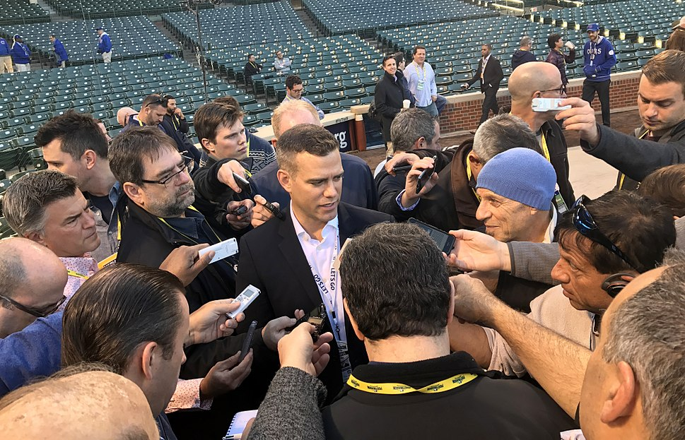 Cubs President of Baseball Operations Theo Epstein talks to reporters before NLCS Game 6