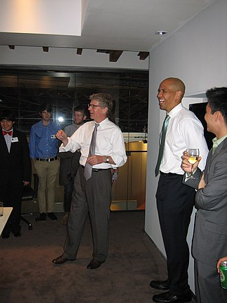 Cory Booker - Booker at a fundraiser with New York County District Attorney candidate Cyrus Vance Jr. in 2009.