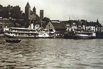 Zürichsee-Schifffahrtsgesellschaft - Paddle steamships Stadt Rapperswil  (to the left) and Stadt Zürich in Rapperswil harbour (estimated to be in May 1914)
