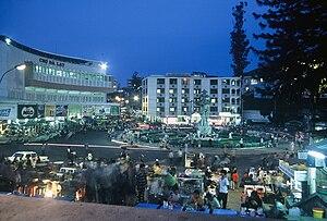 Da Lat - Da Lat Market (left) on Hoa Binh Square