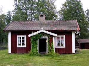 Torp (architecture) - A very typical Swedish torp. Writer Dan Andersson lived in this one.