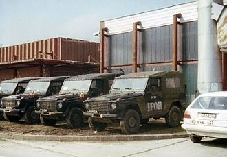 Military history of Denmark - Danish Army vehicles in Bosnia as part of IFOR, 1996.