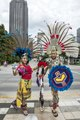 Dancers Itzel Maya, left, and Eduardo Gutierrez, pause between performances at Klyde Warren Park in Dallas, Texas, which opened in 2012 in the city's arts district LCCN2014633023.tif
