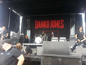 Danko Jones in 2013. L–R: Danko Jones, Rich Knox and John Calabrese