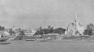 Dar es Salaam - Dar es Salaam during the 1930s, with the Old Boma and St. Joseph's Cathedral prominently in view.