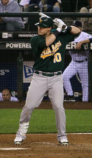 Daric Barton - Barton batting for the Oakland Athletics in 2008