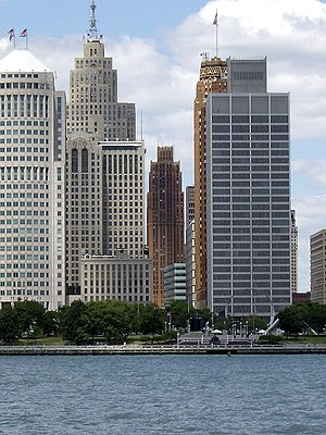 Detroit Financial District - Financial District along the International Riverfront viewed from Windsor, Ontario.