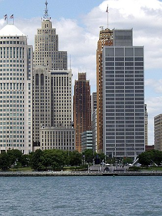 Detroit International Riverfront - Detroit Financial District skyline at Hart Plaza