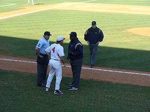 David Perno - Perno arguing with umpires during a game against the Mississippi State Bulldogs.
