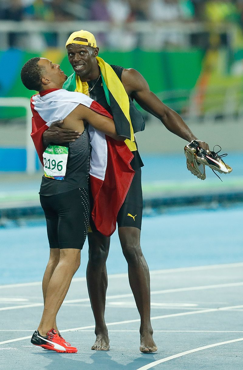 De Grasse and Bolt Rio 100m final 2016.jpg