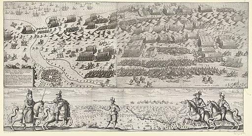 De slag bij Nieuwpoort gecombineerd met portretten van Albrecht en Isabella met Mendoza en Maurits en Frederik Hendrik te paard voor het slagveld, 1600, RP-P-OB-80.454A