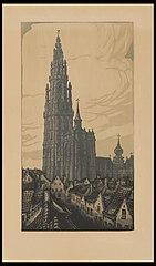 De toren van de kathedraal te Antwerpen