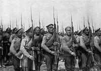 Oddziały rosyjskie broniące Warszawy.