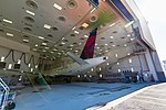 Delta's Airbus A220 in paint shop (30802580778).jpg